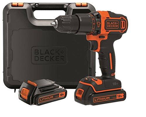 Black+Decker Taladro Percutor Inalambrico 18V 1.5Ah Con 2 Baterias Y Maletin 10 Mm Bdchd18Kb-Qw