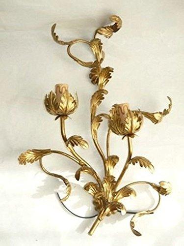 Applique in ferro battuto Oro foglie ACANTO a 2 luci per Soggiorno Ingresso