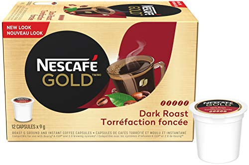 NESCAF Gold Dark Roast Dark & Intense (Pack Of 12 Cups), 12 Count {Imported from Canada}