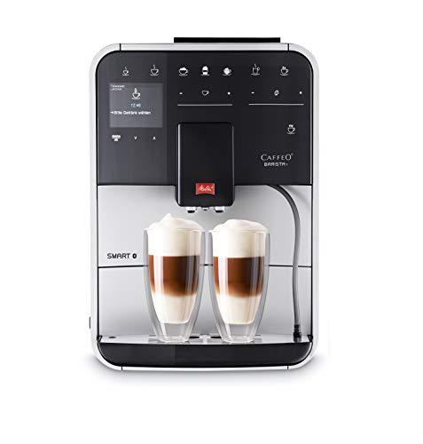 Melitta Barista T Smart F831-101, Cafetera Superautomática con Molinillo Silencioso, App Connect, Pantalla Táctil, 18 Recetas, 15 Bares, 1450 W, 1.8 litros, Acero inoxidable, Plata/Negro