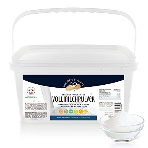 Vollmilchpulver 26% 5 kg | Sprühgetrocknet | lecker u. lange haltbar | Frischmilch Ersatz | Backen Kochen | Herkunft EU | Golden Peanut