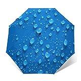 Paraguas automático triple plegable 3D con impresión exterior azul gotas de agua, protector solar impermeable resistente al viento, paraguas plegable duradero para hombre y mujer al aire libre