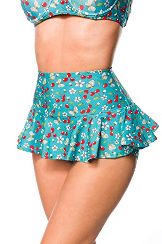 Unbekannt Elastischer Damen Bikiniunterteil Baderock Baderöckchen ausgestellt Beinausschnitt und Kirschen Blüten Bienen Muster grün weiß Minrock mit Panty S