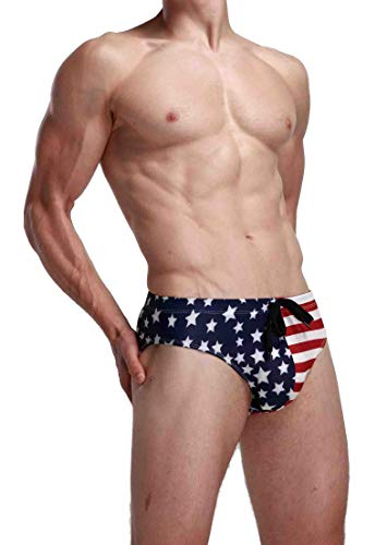 Linemoon Men's Colorful Boxer Swimming Trunks Fashion Solid Brief