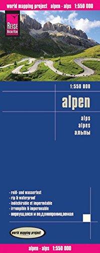 Alpes, mapa impermeable de carreteras. Escala 1:550.000 impermeable. Reise Know-How.