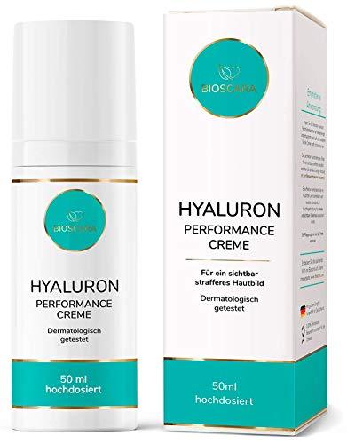 Bioscara Hyaluron Creme Gesicht 50ml hochdosiert I Anti Aging Tagescreme & Nachtcreme mit Hyaluronsäure, Vitamin E, Collagen und Peptiden I Perfekt für trockene und faltige Haut