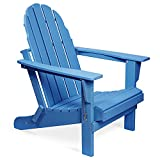 Folding Adirondack Chair, Patio Outdoor Chairs, HDPE Plastic Resin Deck Chair, Painted, Weather Resistant, for Deck, Garden, Backyard & Lawn Furniture, Fire Pit, Porch Seating by Gettati (Navy)