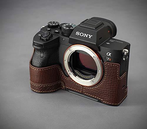 対応 SONY ソニー PEN A7R IV A7R4 A7RM4 α7R IV α7RM4 α7R4 ソニーアルファ 7R IV カメラケース カメラカバー カメラバッグ カメラホルダー 本革 + メタルベース + メタルグリップ、Koowl手作りのレザー銀付牛革+メタルカメラハーフケース、付属品:牛革ハンドストラップ、スタイリッシュ • 防水 • 防振 (コーヒー色)