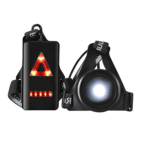 welltop Running Light Lamp, LED Chest Light USB Rechargeable Body Lamp 3 Modes with Taillight and Adjustable Strap for Night Runners Joggers Walking Camping Hiking