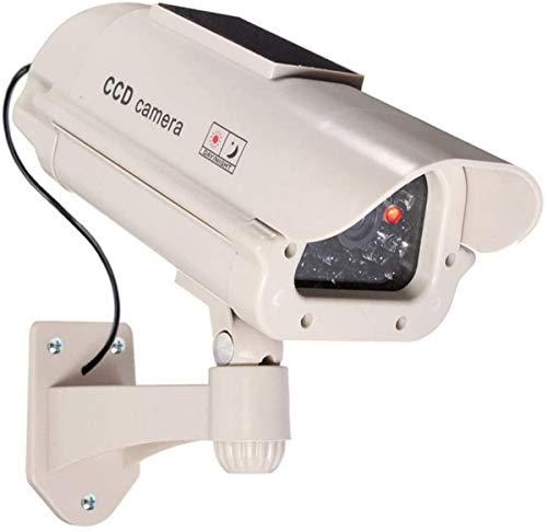 1 cámara de vigilancia falsa grande con energía solar falsa para exteriores, con lente y luz intermitente, para videovigilancia