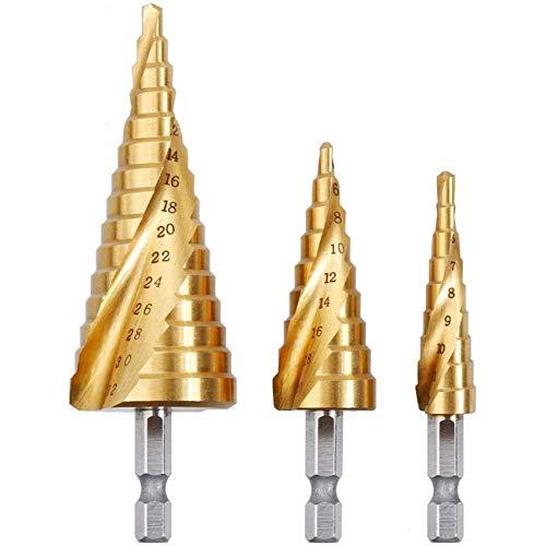 Rovtop 3 Piezas Brocas Hss Drill Bits - Brocas Escalonadas Brocas De Acero Hss Brocas Cortas High Speed Steel, 3 Piezas De 4-12/20 / 32 Mm