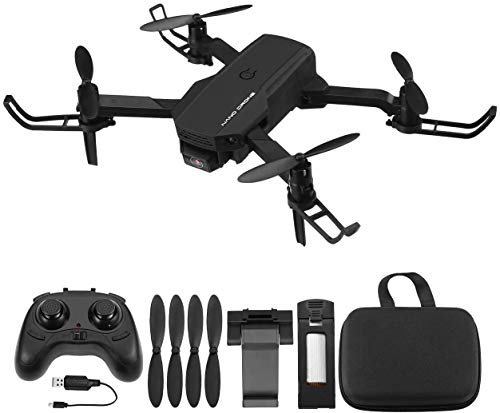 Powerextra RC Mini Drone 720P con Telecamera - Quadcopter Drone Pieghevole WiFi FPV 2.4GHz 3D Flip e Funzione Spin ad Alta Velocit Rotazione per Bambini e Principianti - Drone con 2 Batteria Nero
