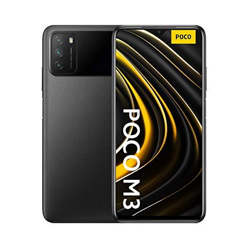 """Poco M3 - Smartphone 4+64GB, Pantalla 6,53"""" FHD+ con Dot Drop, Snapdragon 662, Cámara triple de 48 MP con IA, batería de 6000 mAh, Power Black (Versión oficial + 2 años de garantía)"""