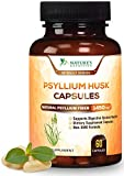 Psyllium Husk Capsules Premium Dietary Fiber 1450mg - Psyllium Powder Supplement - Made in USA - Best Soluble Fiber Pills, Helps Support Digestion & Regularity - 60 Capsules
