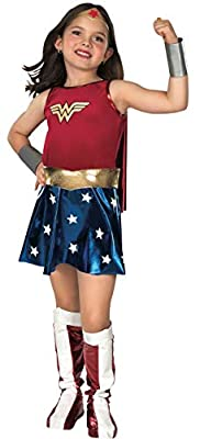 OFFICIALLY LICENSED DC COMICS deluxe Wonder Woman Costume set SLEEVELESS tank style dress with attached cape and belt, wrist gauntlets, tiara headpiece and pull on boot covers READ BEFORE BUYING: Costumes are not sized the same as apparel, use Rubie'...