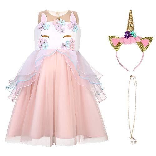 URAQT Disfraz de Princesa Frozen, Traje del Vestido Traje de Princesa de la Nieve Vestido Infantil Disfraz de Princesa de Niñas para Frozen Themed Fiesta Cumpleaños Navidad Hallowe