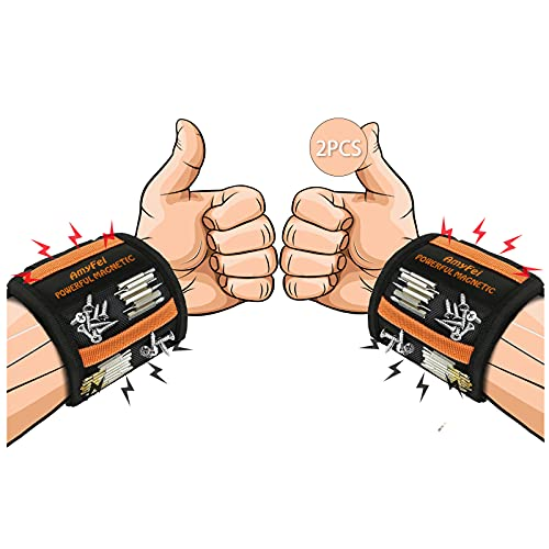 2PCS Magnetarmband Handwerker,Werkzeug Magnetarmband Handwerker Geschenke mit 15 Magneten,Starker...