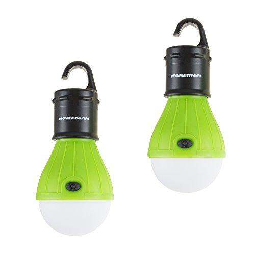 Wakeman 75-CL1021 Portable Led Tent Light Bulb Hanging Lights, Green, 2 Pack