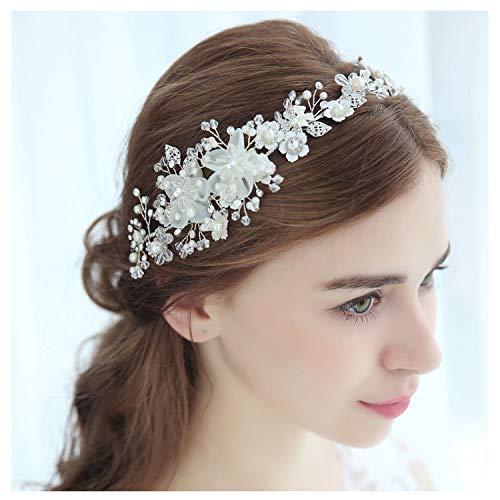 Accesorios para el cabello con flores SWEETV joyería de plata para el cabello nupcial diademas de cristal tiara