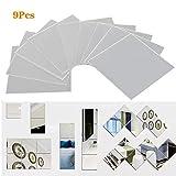 FOCCTS 9 Pièce Miroirs Adhésifs carrés pour chambre Miroir Autocollant Carré...