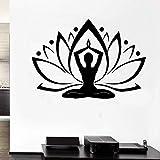 wZUN Mujer Zen Yoga Lotus Silueta Mural diseño Pegatina Budista Sala de Estar y Dormitorio decoración extraíble 57X40cm
