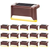 16 Pieces Outdoor Solar Deck Lights,Waterproof Step Led for Patio Back Yard Path and Driveway,Lights Up Stairs