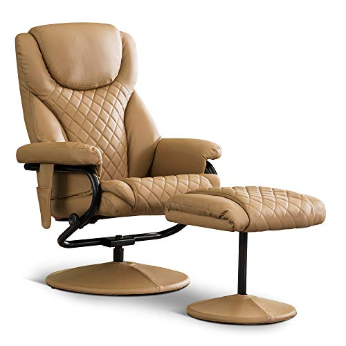 Mcombo Recliner with Ottoman, Reclining Chair with Massage, 360 Swivel Living Room Chair Faux Leather, 4901 (Cognac)