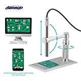 Aomekie USB Digital Microscope Magnifier Camera Video 200X Zoom 1600x1200 HD 2MP PCB Inspection Handheld Endoscope with 8 LED Lights and CMOS Sensor for Mac Windows PC Android Phone