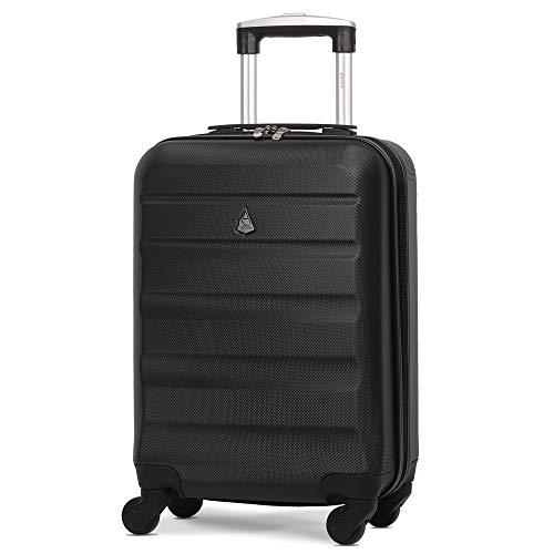 Aerolite Leichtgewicht ABS Hartschale 4 Rollen Handgepäck Trolley Koffer Bordgepäck Reisekoffer Gepäck, easyJet, Lufthansa, Jet2 und Mehr, Schwarz