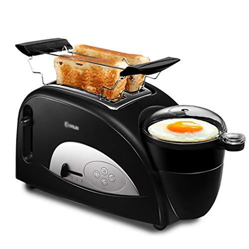Toaster 2 Scheiben Toaster und Eierkocher, 4-in-1 Haus Multifunktions-Frühstück-Maschine Brot Toast und Ei-Maschine, Breite Schlitz Toaster mit Edelstahl-Grill, 5 Browning Steuerung - 1200W - Schwarz