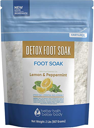 Detox Foot Soak 32 Ounces Epsom Salt with Natural Lemon, Peppermint, Lavender and Frankincense Essential Oils Plus Vitamin C in BPA Free Pouch with Easy Press-Lock Seal