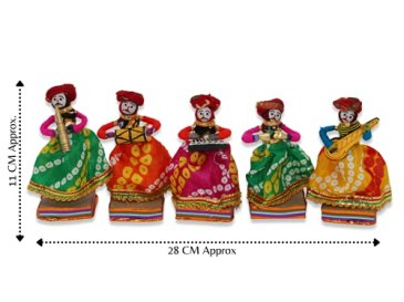JH-Gallery-Recycled-Material-Rajasthani-Musician-Bawla-Puppets-Male-Idol-11x28-cm-Multicolor-5-Piece