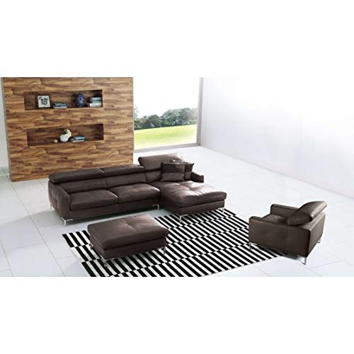 Casaliving - Baverly 4 Seater Leatherette L Shape RHS Sofa (Brown)