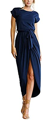 Maxi Dresses for Women, Summer Beach Dress, Casual Dresses Slit Maxi Dress, Sexy Split Design,Elastic Waist, Belted Waist, Jersey Long Dress, Cap Sleeve Suitable for vacation, work, party, wedding, club, homecoming, beach or casual wear Soft and ligh...