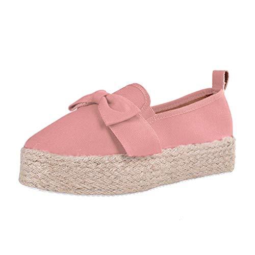 Minetom Mujer Zapatillas Moda Alpargatas Plataforma Arco Cuña Tacón Plano Loafers Antideslizante Cómodo Lindos Zapatos Rosa 39 EU