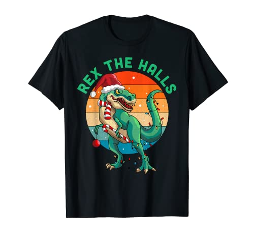Rex The Halls Christmas Dinosaur T-Rex Navidad Camiseta