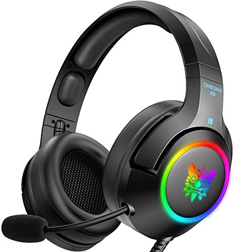 ONIKUMA Gaming Headset for PC,PS4,Xbox one,Noise Canceling Gaming Headphone with Microphone and Surround Sound, RGB LED Light, Compatible with Nintendo Switch (Audio), Xbox One (Adapter Not Included)