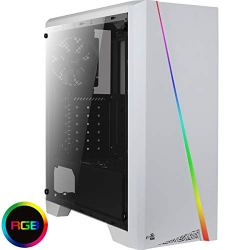 Aerocool Cylon Mid-Tower RGB PC Gaming Case, ATX, Full Tempered Glass Side Window, 13 Lighting Modes, 1 x 120mm Black Fan Included, Built with Gamers in Mind | White