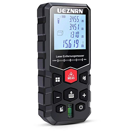 Ueznirn Laser Entfernungsmesser Distanzmessgerät Messbereich: 0,05~40m, Lasermessgerät Genauigkeit: ±2 mm, IP54 Staub/Spritzwasserschutz Entfernungsmessgerät mit LCD Hintergrundbeleuchtung