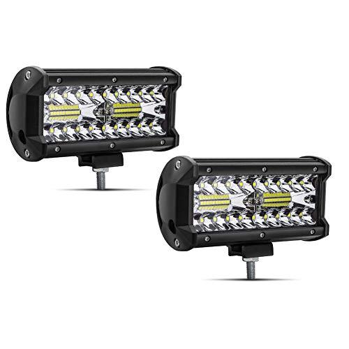Safego 7' 120W Faro da Lavoro Luce Barra 9600LM Faretto a LED Impermeabile IP67 Fendinebbia Luci per Off Road Auto SUV ATV Camion Barca Mining Spotlight 12V 24V, 1 anno di Garanzia, 2 pezzi