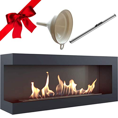 Delta 1200 120 cm Bioethanol Wall Fireplace Black TÜV Tested Gift Pack with Funnel and Stick Lighter