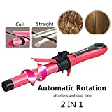 2 in 1 Hair Straightener and Curler Hair Curling Iron 1 Inch Spinning Hair Wand with Automatic Rotation for All Hiar Type Ceramic Flat Iron Auto Rotating Spiral Adjustable Temperature Salon Tools
