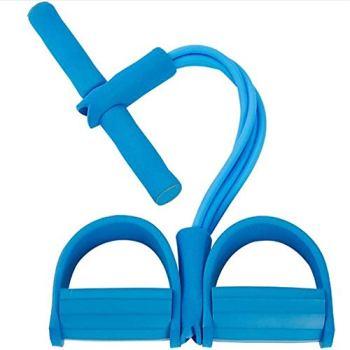 ZoneYan Corde de Tension Multifonctionnelle, Sit-Up Bodybuilding Expander, Pédale Pull Cordes, 4 Tube Jambe Exerciseur (Blue)