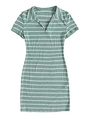 Material: Stretchy and soft material, comfortable to wear Features: Short sleeve, notched neck, rib knit, mini length, slim fit, striped dress, t-shirt dress Occasions: basic and classic summer dress, suit for different occasions such as casual, offi...