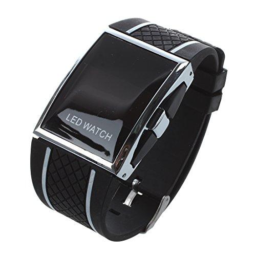 Reloj de pulsera SODIAL(R) 2015, con LED, moderno, lujoso, para hombre y mujer, de deporte, correa de color negro con líneas blancas