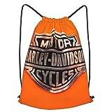 fgjfdjj Harley Davidson Bolso con cordón Personalizado, Mochila de Hombro Mochila Informal al Aire Libre para Mujeres y Hombres