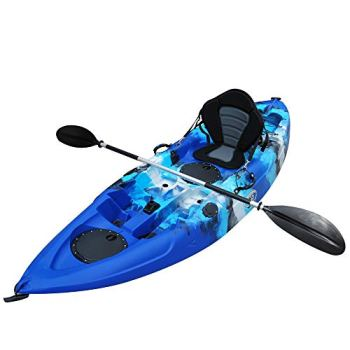 BKC FK184 9' Solo Sit-On-Top Kayak w/Premium Memory Foam Seat -Paddle and Fishing Rod Holders Included