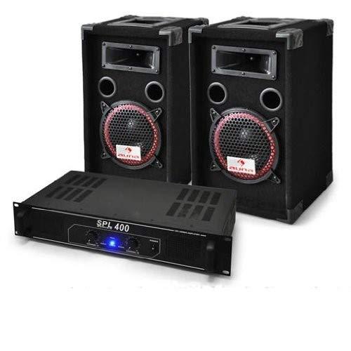 DJ set'DJ-12' impianto audio completo (2 casse AUNA diffusori 1000 Watt totali, 1 amplificatore Skytec finale di potenza, cavi per collegamento)