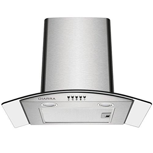 CIARRA CBCS6506B Cappa Aspirante 60 cm in Vetro e Acciaio Inox, Cappa Cucina per 550 m/h, 3 gradini, Vetro LED, Scarico/Aria Ricircolata (Argento)