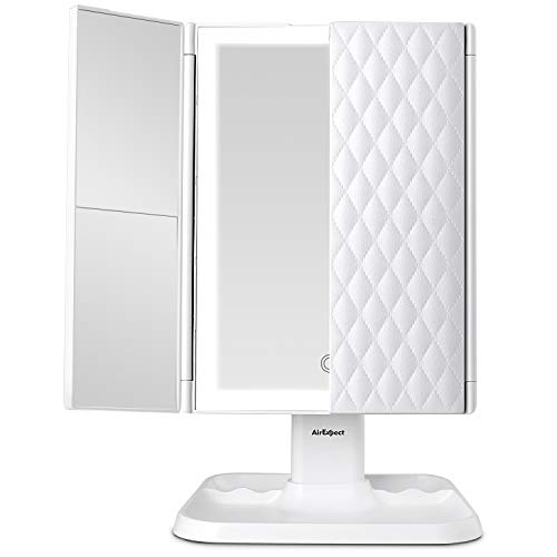 AirExpect Makeup Mirror Vanity Mirror with Lights - 3 Color Lighting Modes 72 LED Trifold Mirror, Touch Control Design, 1x/2x/3x Magnification, Portable High Definition Cosmetic Lighted Up Mirror 1
